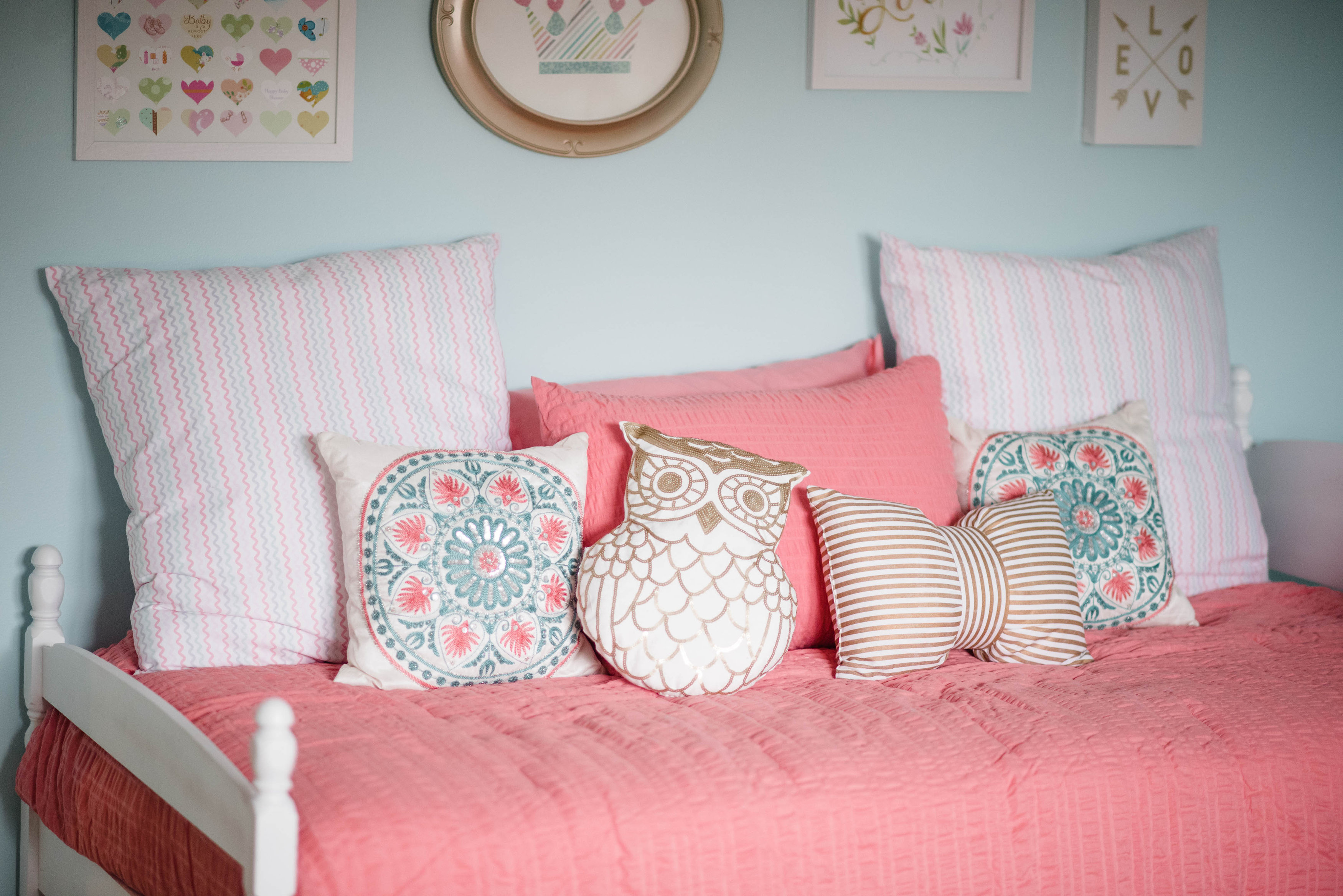 coral and aqua nursery, baby girl nursery