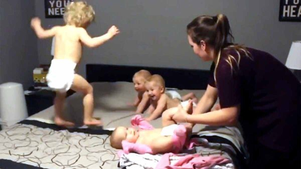 Mom vs triplets + toddler