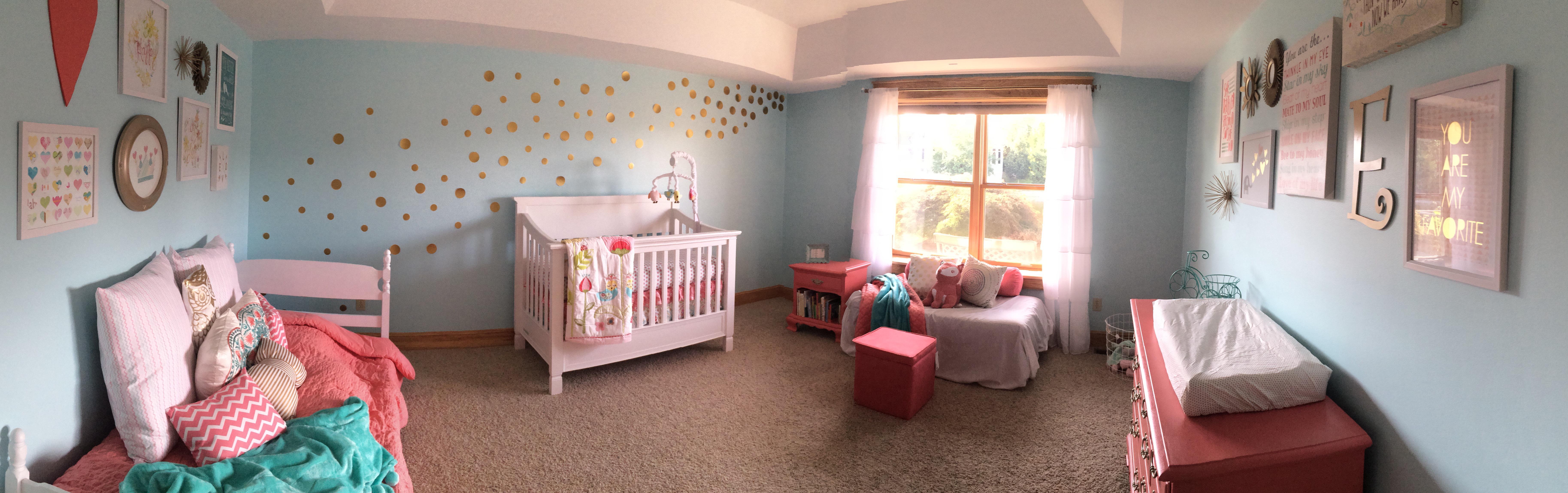coral and aqua nursery, baby girl nursery
